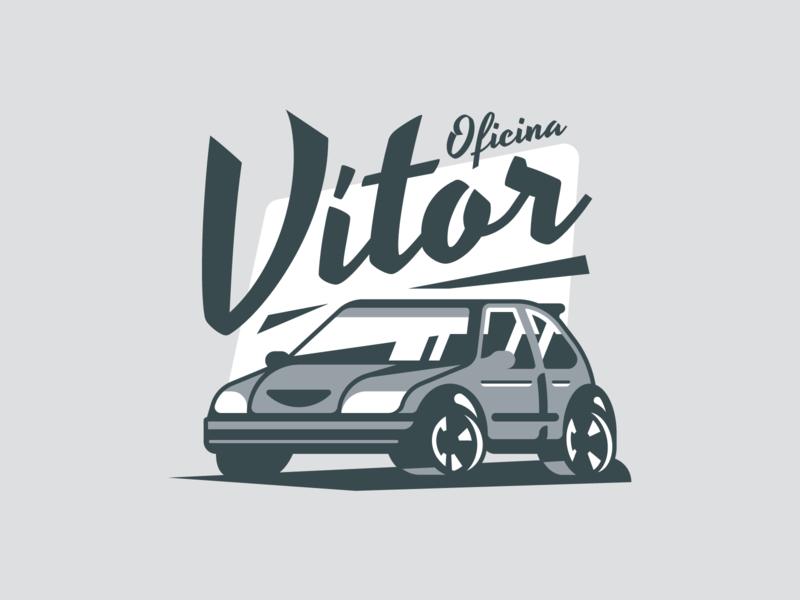 Vítor's garage 🚘 badge icon mark design illustration retro identity typography type saxo cup citroen car logo garage
