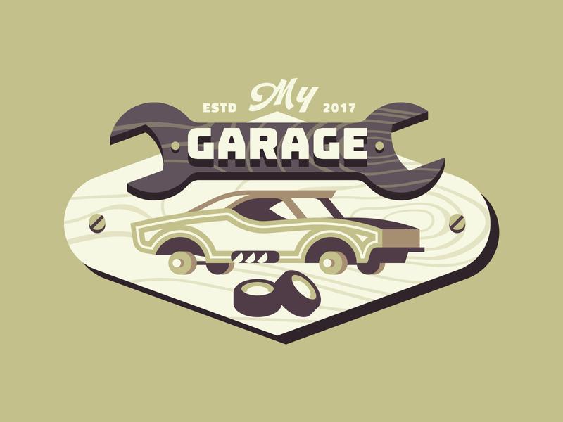 My Garage #2 wood route cowboy texture retro vector letter identity illustration logo mechanic typography badge garage