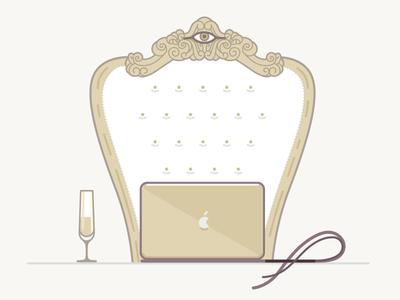 Hiring Senior Designer eye throne power reign champaign apple designer iconset flat outline monoline illustration