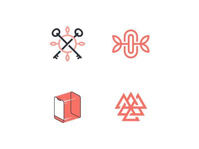 ORGANIC LOGOS red triangle phone leaf key logo design branding brand design logodesign logos logotype logo