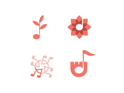 MUSIC LOGOS icon sign mark branding brand lineart castle quartette note bio flower leaf design logos logotype logo