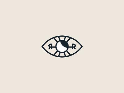 Logo for Roza Ray lineart simple psychology astrology monogram lettering rr moon sun eye mark logodesign branding brand logos logotype logo