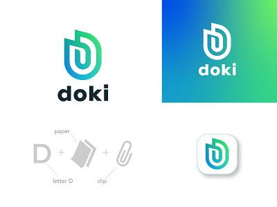 Doki monogram logo defend shield memory storage paper clipboard letter clip monogram design armenian mark logodesign logos branding brand logotype logo
