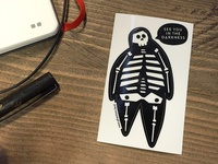 Glow in dark skeleton sticker