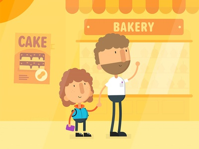 Bakery scene afro bobble wave hello street cake yellow allergic