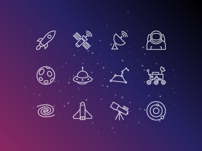 Space Icons galaxy mars rover ufo satellite moon astronaut rocket svg vector icons icon space