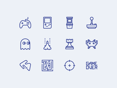 Gaming Icons racing strategy game boy pacman arcade video games outline vector svg icons gaming game