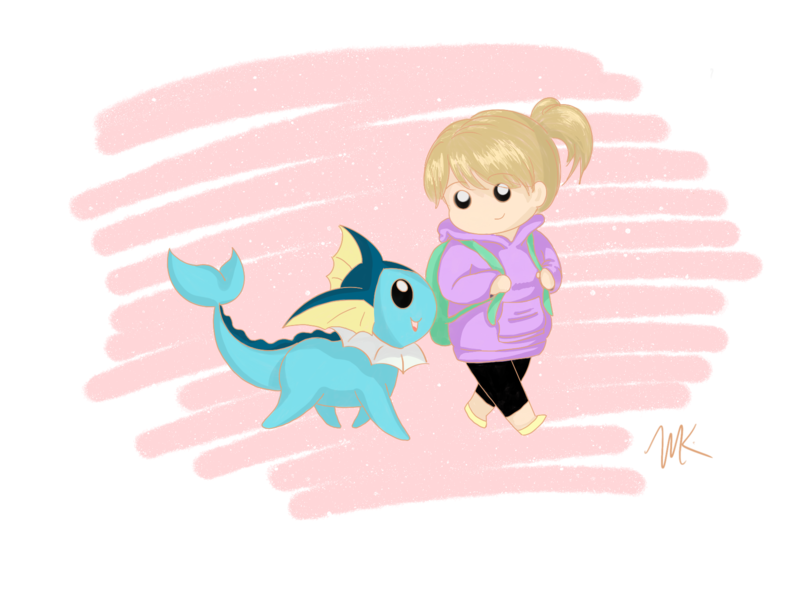 Winnie and her Vaporeon pokemontrainer waterpokemon procreate painting illustration digitalpainting pokemon drawing digitalart cartoon art anime