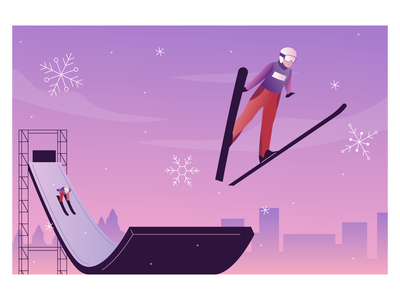 Olympic Ski Jumping city background skis snowflake russia sky 2d illustration jumping winter olympic ski
