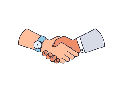 Business handshake after dial stroke icon money work dial hand business handshake 2d illustration