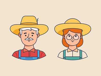 Farmer couple avatars color 2d body avatar workers village country woman man farmer illustration