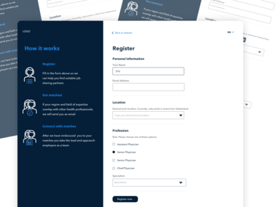 Form Page sketch ux ui input fields form startup medical responsive web