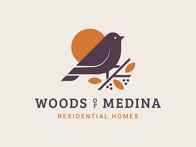 Wood of Medina Residential Homes medina woods branch berries leafs homes residential sun finch symbol design illustration mn letter mark logo typography branding bird