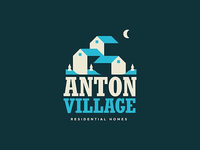 Anton Village Logo Option 3 brand identity ski resort snow house residential homes village anton illustration design type mn symbol icon typography mark logo branding