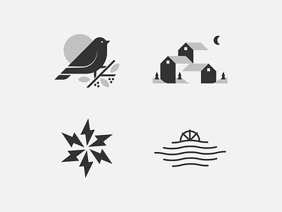 Logo Lounge 12 Submission Pt. 1 mn design houses mill water bolt sun finch branding symbol icon logolounge brand mark logo