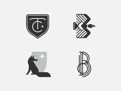 Logo Lounge 12 Submission Pt. 2 logolounge mn symbol icon brand identity monogram art deco b tc goose shield fox brand branding mark logo