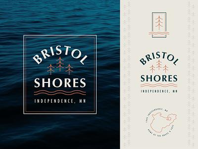 Bristol Shores Residential Homes Pt. 4 simple square pine tree bristol shores mn badge lake trees resident homes symbol branding letter typography mark logo