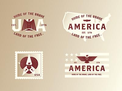 America – Home of the brave, land of the free. star post stamp flag america usa type eagle illustration typography design letter symbol branding mark logo