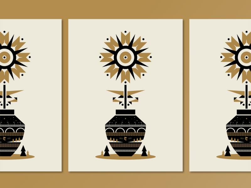 Poster for Parks 2020 | Stone & Vase mississippi river nature screenprint black gold pine tree fish 2020 poster for parks branding stone arch bridge mn minnesota minneapolis bridge flower vase poster illustraion