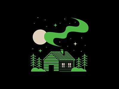 Cabin Life neon outdoors stars cabin life smoke moon trees cabin typography design illustration