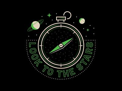 Compass Badges vector badge logo neon direction planets stars design illustration compass