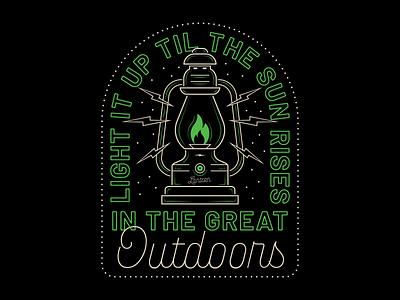 Lantern Badge lineart outdoors neon type vector branding design badge design lantern typography illustration badge
