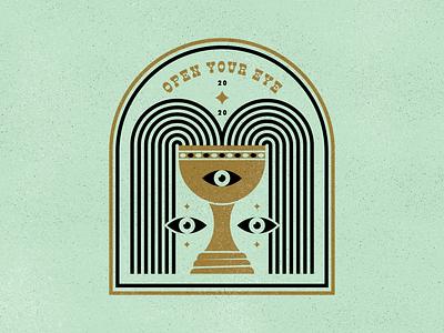 Open Your Eye third eye drink spooky star gold cup design illustration branding badge logo thirdeye open your eye grail