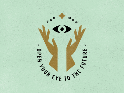 Open Your Eyes To The Future third eye vector design illustration typography branding lockup thirdeye hands mark logo