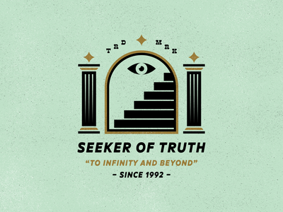 Seeker Of Truth third eye 1992 illustration design pillar eye star branding stairway thirdeye typography mark logo