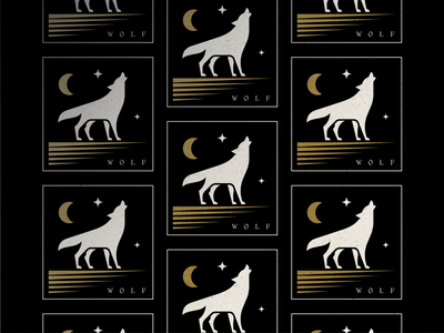 Wolf texture stars howling symbol pattern design illustration branding mark logo moon blackandgold wolf