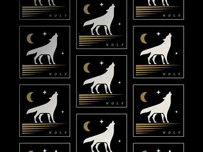 Wolf texture stars howling symbol pattern design illustration branding mark logo moon blackandgold wolf
