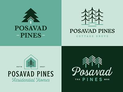 Posavad Pines Branding house and tree trees neighborhood residential homes pine tree homes residential letter icon mn design branding typography mark logo