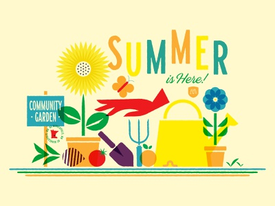 Summer is Here community malley plants flowers overlay gardening summer minneapolis design illustration symbol icon typography logo branding