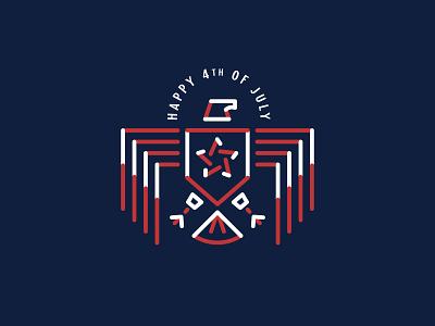 Happy 4th of July monoline illustration independence day 4thofjuly symbol icon mark logo eagle branding