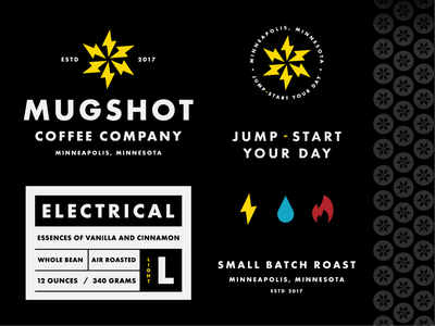 Mugshot Brand Elements energy thermal hydro electric small batch roast packaging label coffee type minneapolis mn symbol letter icon typography logo mark