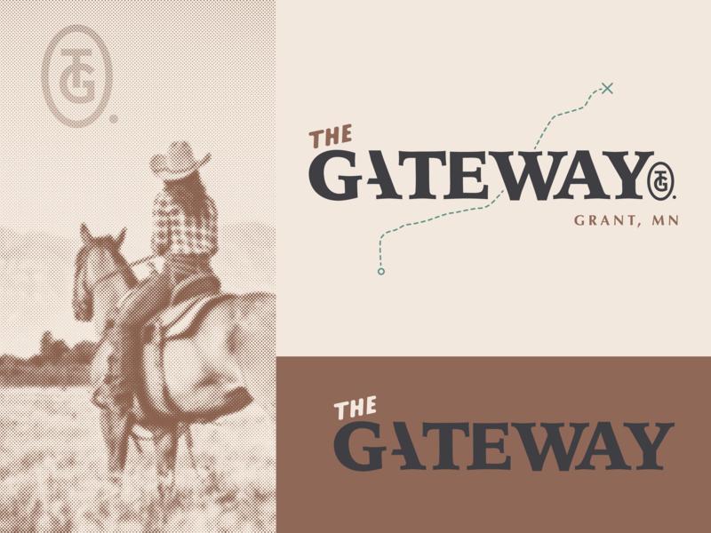 The Gateway Logo Options 1.2 concept branding design type monogram trail cowgirl horse grant gateway halftone bold illustration mn symbol letter typography icon logo mark