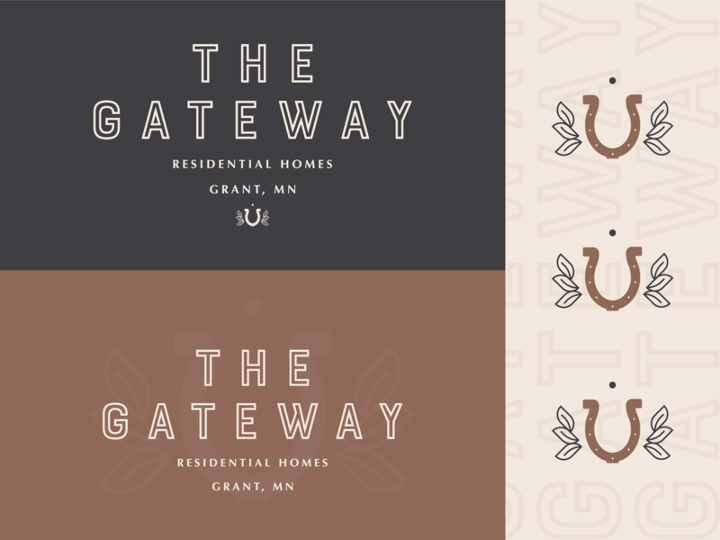 The Gateway Logo Option 3.2 lucky horseshoe horse residential gateway grant branding design bold type illustration mn symbol letter typography icon logo mark