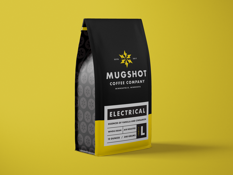 Mugshot Package Update coffee packaging energy lighting bolt electric packaging coffee mug branding design minneapolis symbol mn letter typography icon logo mark