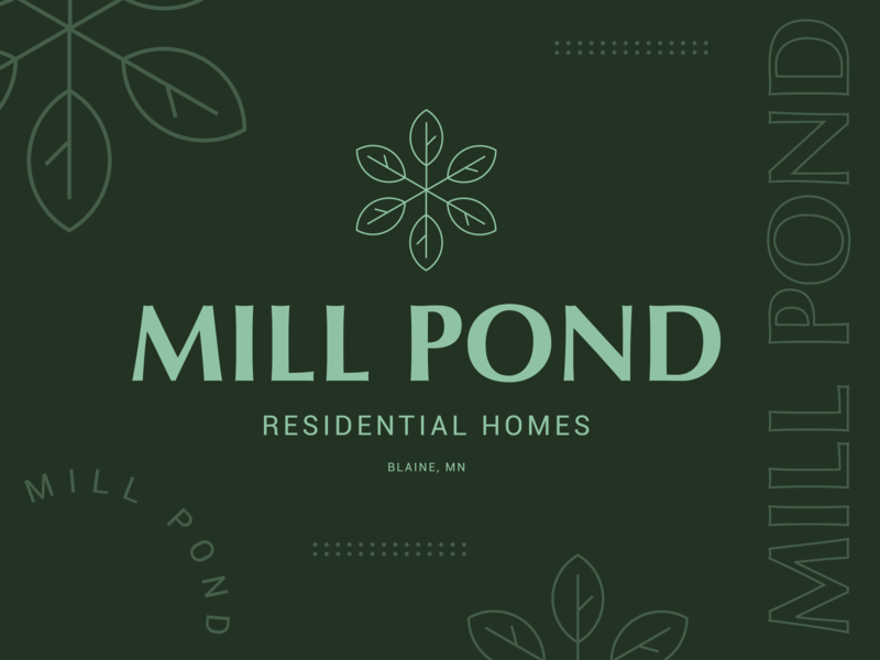 Mill Pond Logo brand elements green minimalistic blaine residential windmill pond mill branding design type mn symbol typography letter icon logo mark
