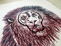 lion illustration silkscreen