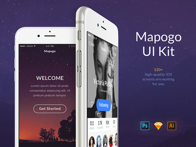 Mapogo UI Kit e-commerce music social sign up sign ui iphone ios ui8 sketch ui kit mapogo