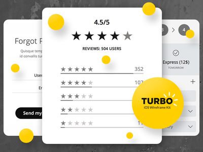 Turbo iOS Wireframe Kit forgot password shipping stars rating moments prototyping template sketch 3 wireframes ui turbo