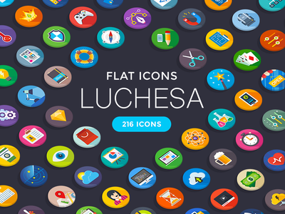 Luchesa Flat Icons icon set vector mobile web pack icon pdf ai png svg flat icons luchesa