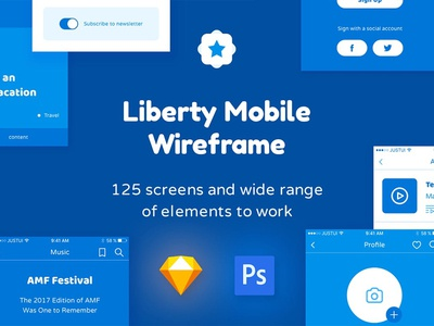 Liberty Mobile Wireframe Kit news multimedia menu profile e-commerce login ui kit wireframe mobile liberty