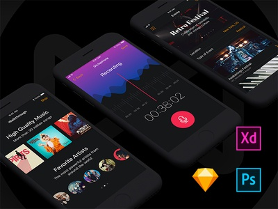 Musical Mobile Ui Kit app events player song albums news radio recording mobile ui kit musical music