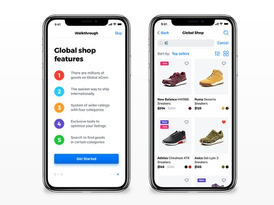 Global Shop - iPhone X sneakers features global shop ios screens iphone x ecommerce shop