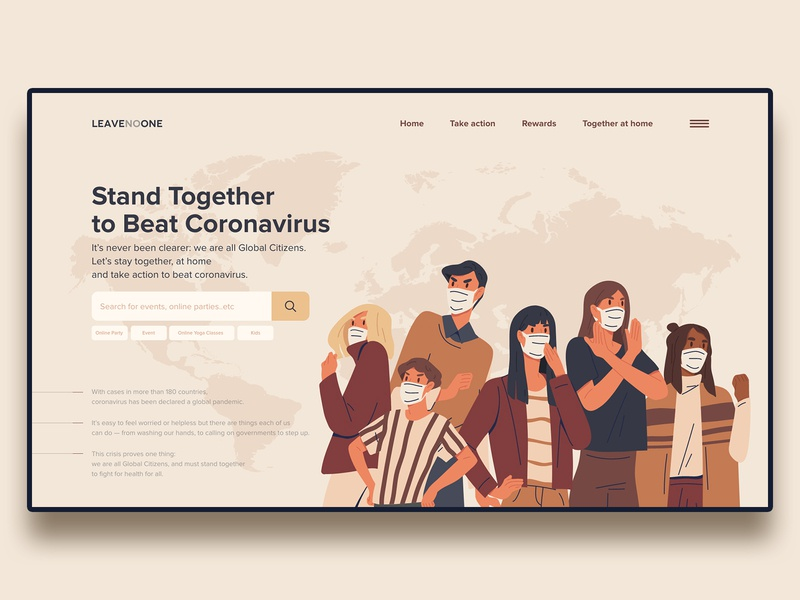 LeaveNoOne Web Landing page for Coronavirus Pandemic