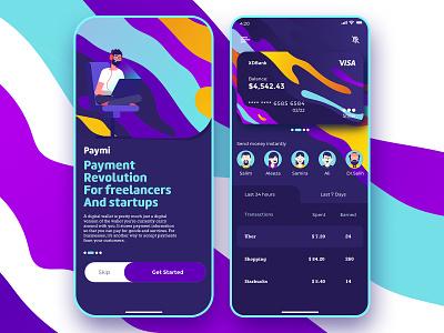 Paymi - Mobile e-wallet for freelancers and startups payment banking wallet ui wallet e-wallet mobile app illustrator minimal flat animation web app ux ios identity uiux ui