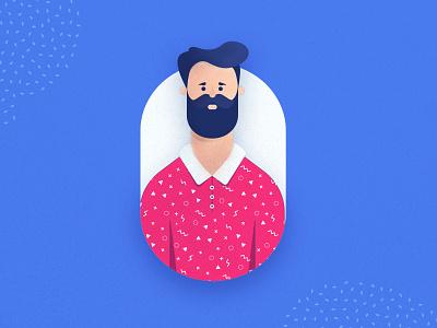 Mustache man illustration for FastPay ui design ui 3d model 3d character 3d characters character design sketch minimal stylish beard mustache business man face man vector illustration character