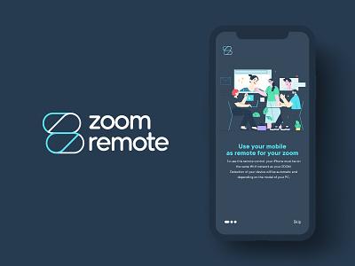 ZoomRemote logo exploration stay home zoom meeting splash page mobile app ui logo inspiration zoom app icon logo mark logo trends web animation minimal flat app typography brand identity identity branding logo design logo